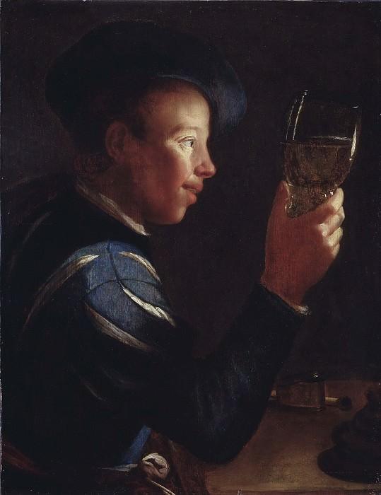 Молодой человек со стеклянным кубком. Виллем ван дер Влит (Приписывается)