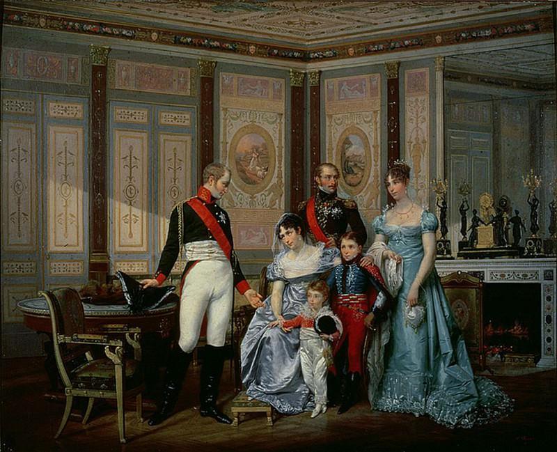 The Empress Josephine presenting her son, Eugene de Beauharnais, her daughter, Hortense. Jean Louis Victor Viger du Vigneau