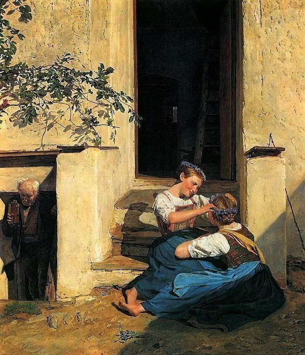Девочки, плетущие венок. Фердинанд Георг Вальдмюллер