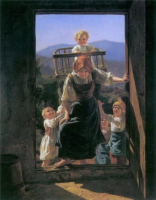 Heimkehrende Mutter mit ihren Kindern. Ferdinand Georg Waldmüller