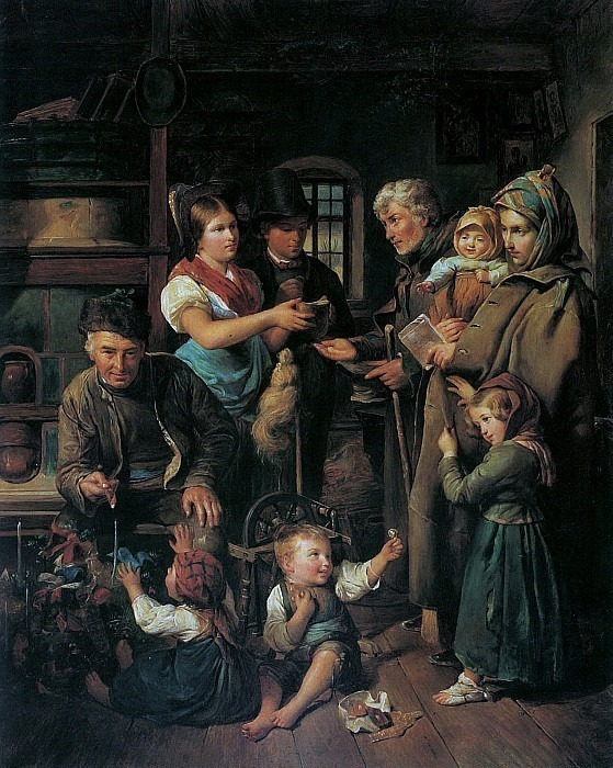 A traveling beggar family receives presents from poor farmers on Christmas Eve. Ferdinand Georg Waldmüller