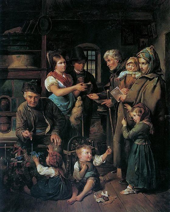 Eine reisende Bettlerfamilie wird am Heiligen Christabend von armen Bauersleuten beschenkt 1834. Ferdinand Georg Waldmüller