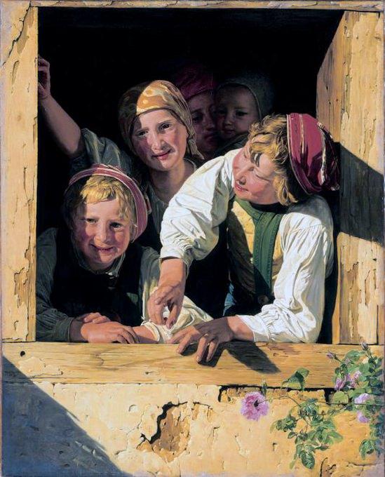 Дети в окне. (1853). Фердинанд Георг Вальдмюллер