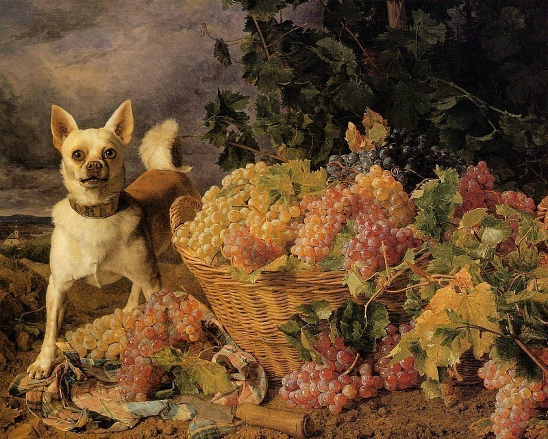 A Dog by a Basket of Grapes in a Landscape 1836. Ferdinand Georg Waldmüller
