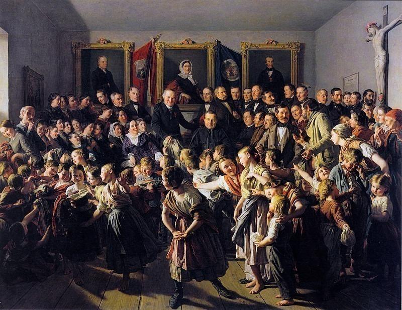 Kinder armer Eltern werden von der Gemeinde Spittelberg am Michaelitage mit Winterkleidern beteilt, Дети бедных родителей получают зимнюю одежду в день святого Микаэля. (1857). Ferdinand Georg Waldmüller