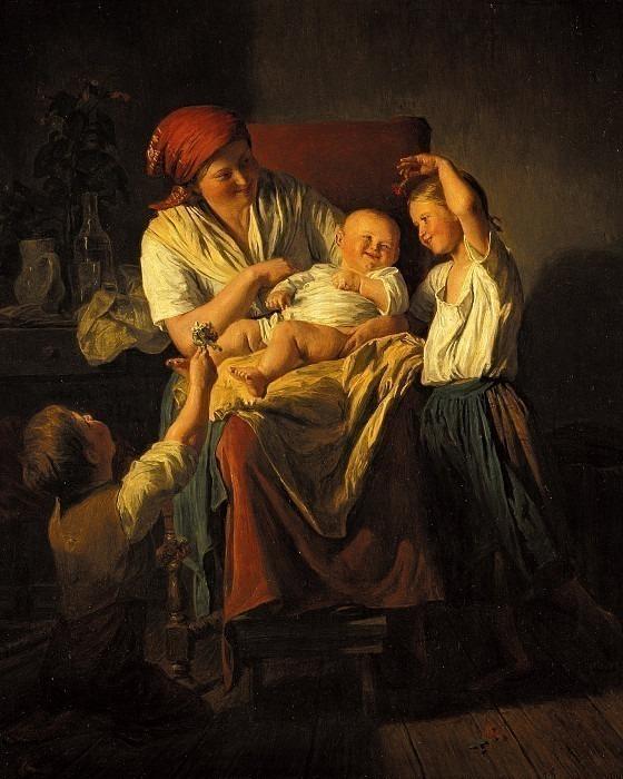 Mutterglück, 1857. Ferdinand Georg Waldmüller
