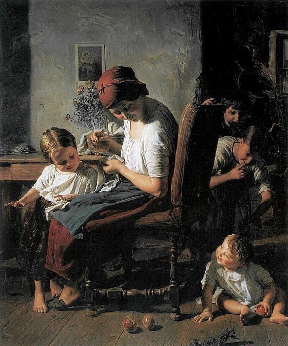 Mutter mit Kindern 1854. Ferdinand Georg Waldmüller