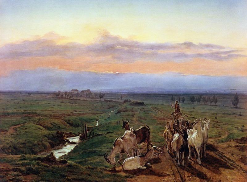 Abendlandschaft mit Ziegenherde, Вечерний Пейзаж со стадом коз. (1847). Ferdinand Georg Waldmüller
