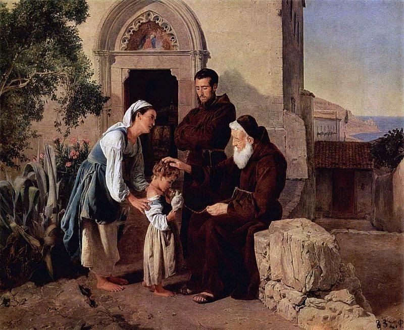 У монастырских ворот. Фердинанд Георг Вальдмюллер