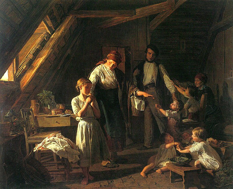 Der Abschied von den Eltern - Прощание с родителями 1863. Ferdinand Georg Waldmüller