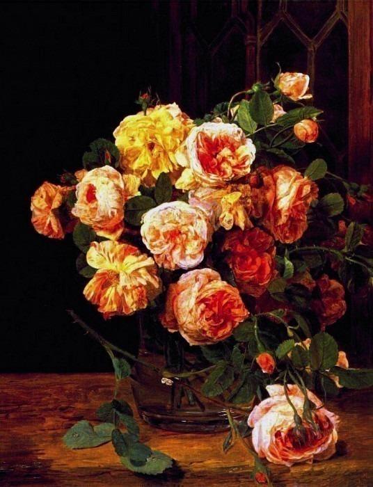 waldmueller roses by the window 1832. Ferdinand Georg Waldmüller