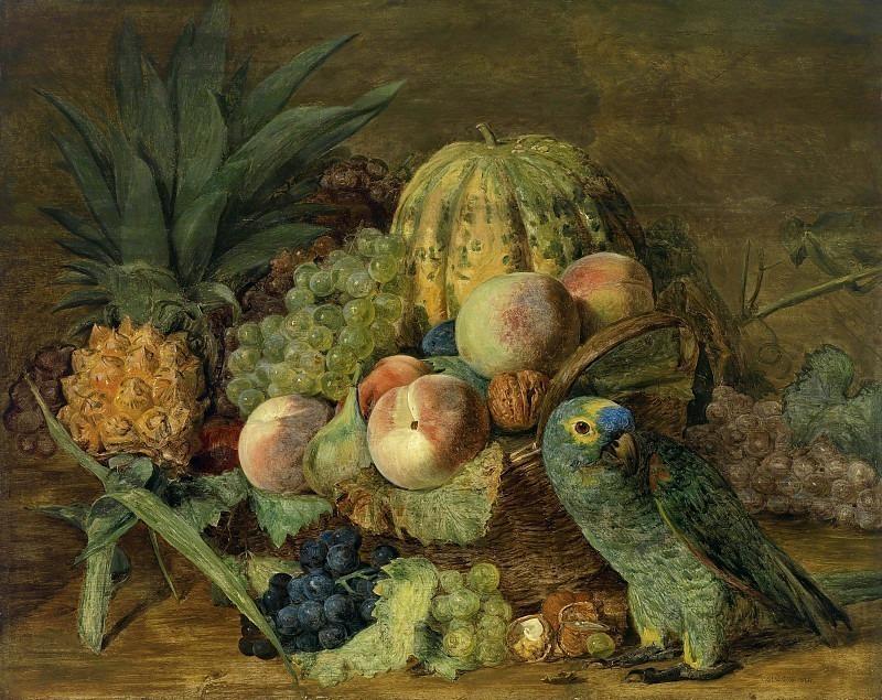 Früchtestillleben mit einem Amazonenpapagei. Ferdinand Georg Waldmüller