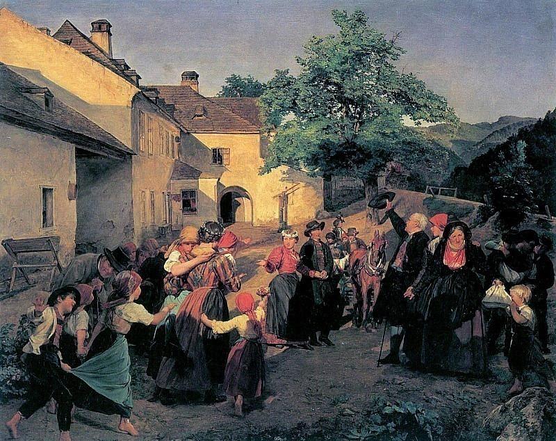 Придя домой после свадьбы, невеста расстаётся со своими товарищами по играм. Фердинанд Георг Вальдмюллер