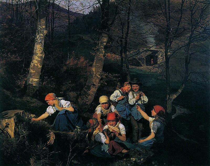 Kinder im Walde - Дети в лесу 1858. Фердинанд Георг Вальдмюллер