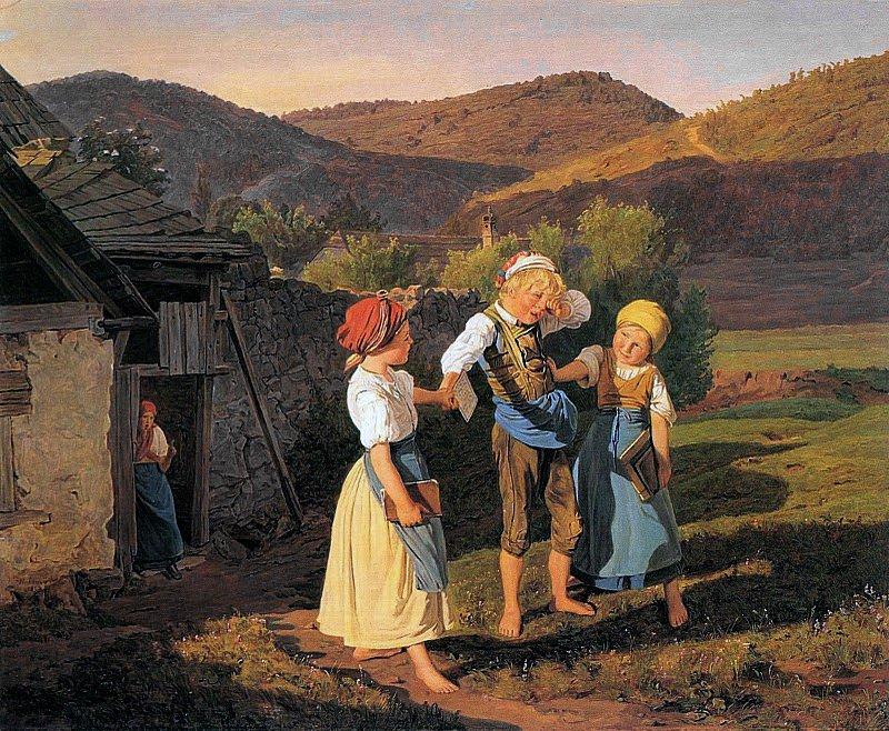 Der widerspenstige Schulknabe - Упрямый ученик 1860. Ferdinand Georg Waldmüller