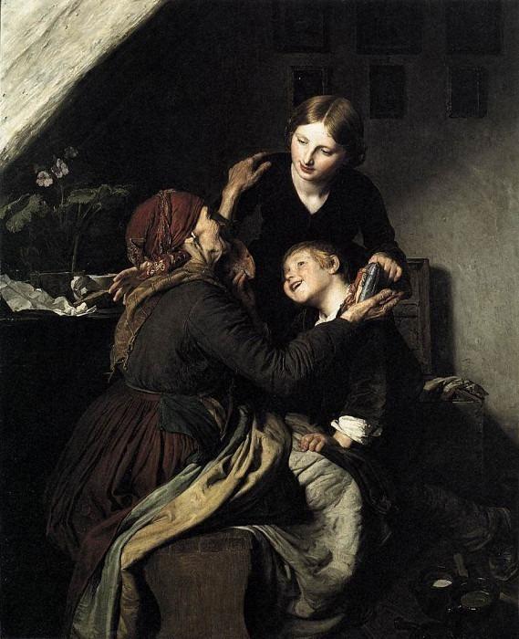 The Grandmothers Birthday. (1856). Ferdinand Georg Waldmüller