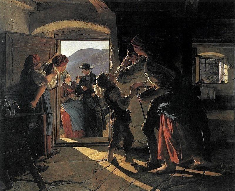 Eintritt der Neuvermählten 1859. Ferdinand Georg Waldmüller