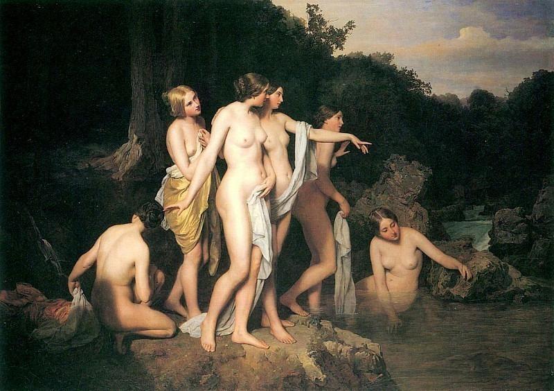 Badende Frauen am Waldbach. Фердинанд Георг Вальдмюллер