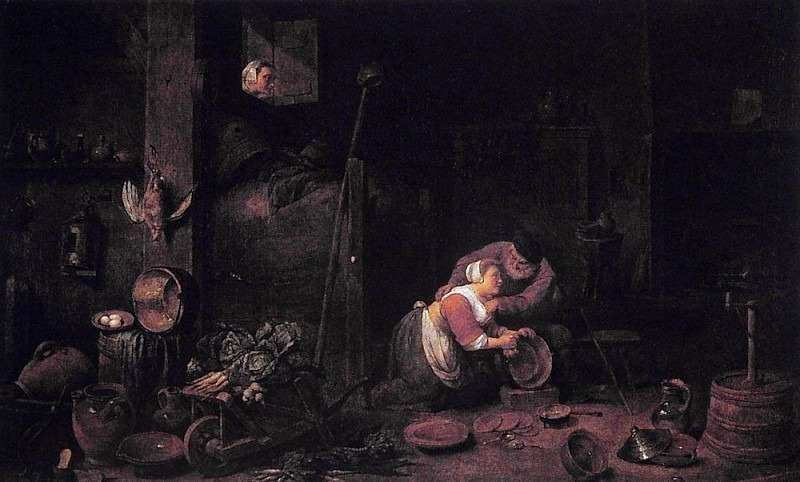 The Old And The Cake Maid After David Teniers. Ferdinand Georg Waldmüller