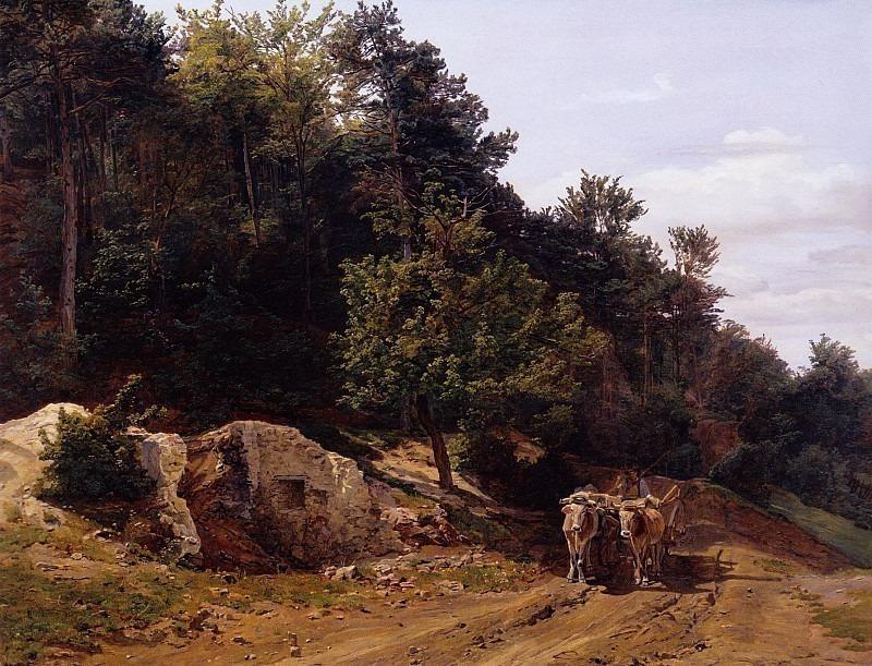 Лесная дорога, Waldweg mit Ochsengespann 1858. Фердинанд Георг Вальдмюллер