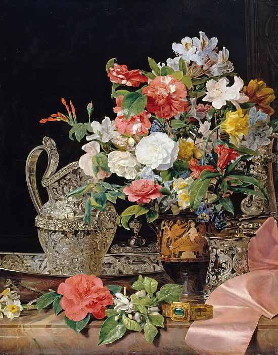 Bouquet with silver jug and antique vase. Ferdinand Georg Waldmüller