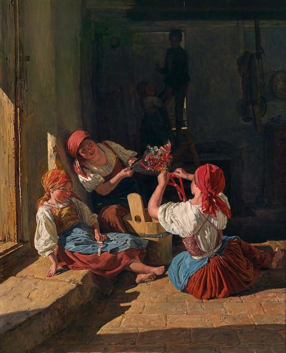 Фердинанд Вальдмюллер - Дети украшают шляпу рекрута 1854. Ferdinand Georg Waldmüller (Kinder schmücken den Hut eines Konskribierten; Children Decorate a Conscript's Hat)