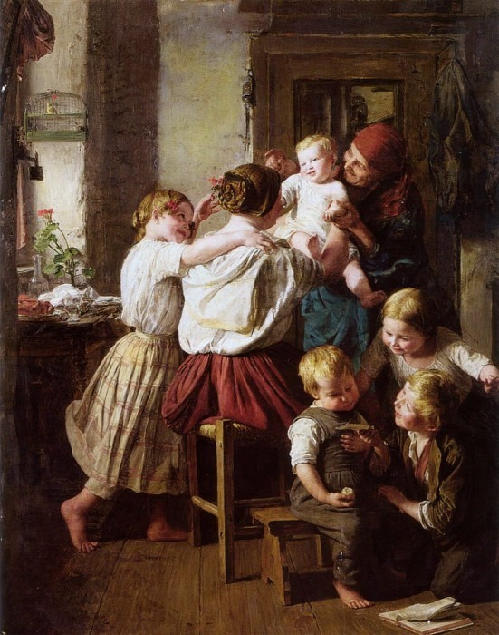 Children Making Their Grandmother a Present on Her Name Day. Ferdinand Georg Waldmüller