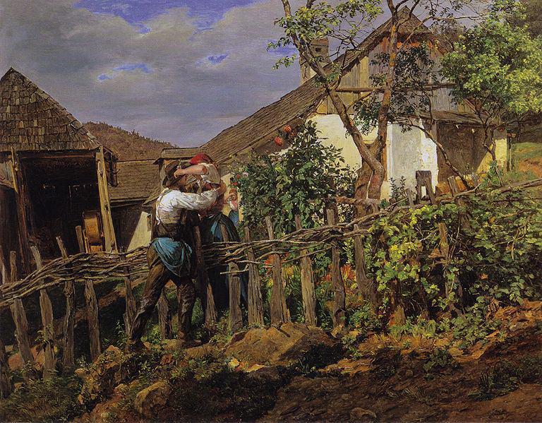 Die Nachbarn 1859. Ferdinand Georg Waldmüller