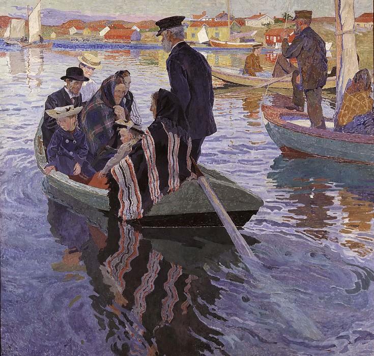 Church-Goers in a Boat. Carl Wilhelmson