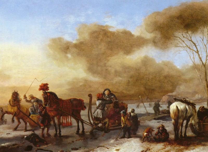 Wouwerman Philips A Winter Landscape With Horse-Drawn Sleds. Philips Wouwerman