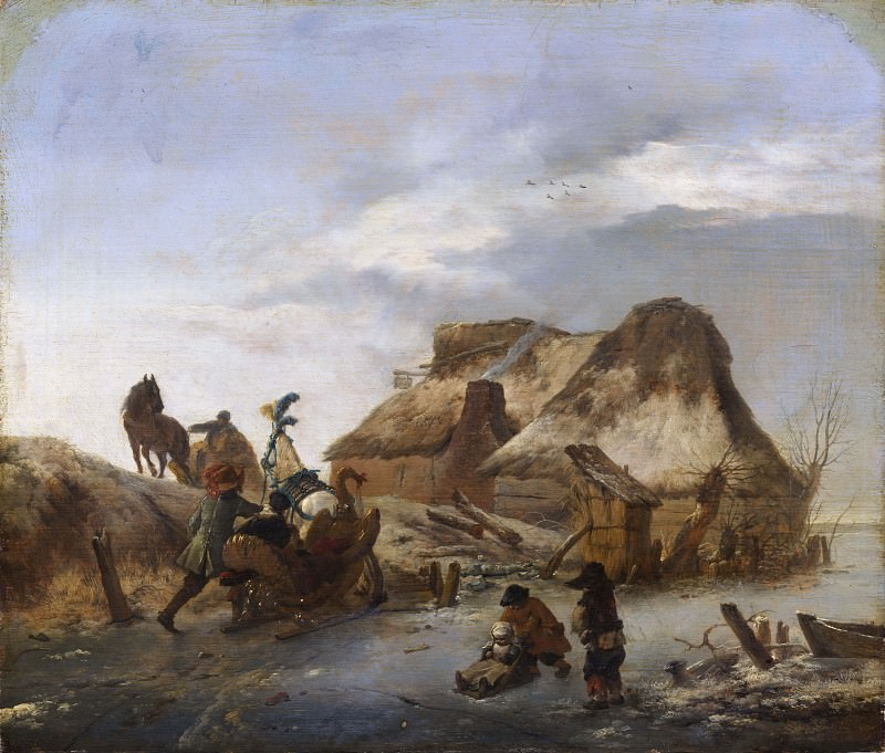 A Nobleman's Sleigh on the Ice. Philips Wouwerman
