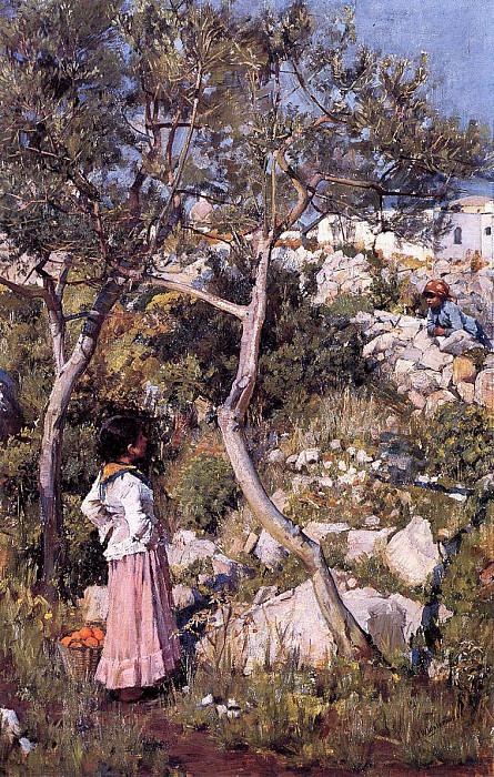 Две итальянские девочки у села. Джон Уильям Уотерхаус
