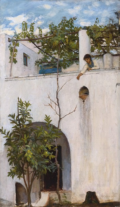LADY ON A BALCONY, CAPRI. John William Waterhouse