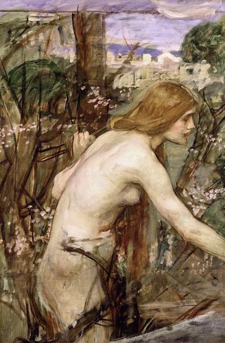 Дувушка, собирающая цветы (эскиз). Джон Уильям Уотерхаус