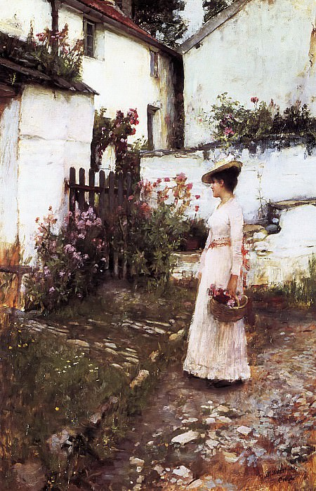 Gathering Summer Flowers in a Devonshire Garden. John William Waterhouse