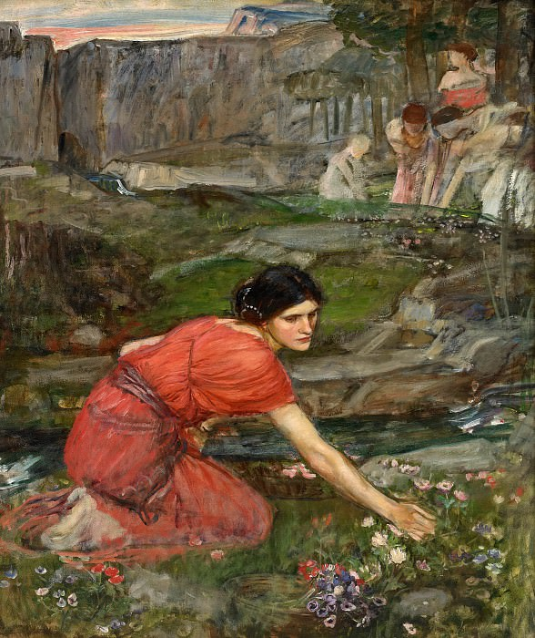 Maidens picking flowers by the Stream (study). John William Waterhouse