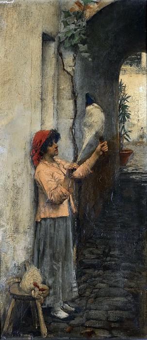 A NEAPOLITAN FLAX SPINNER. John William Waterhouse