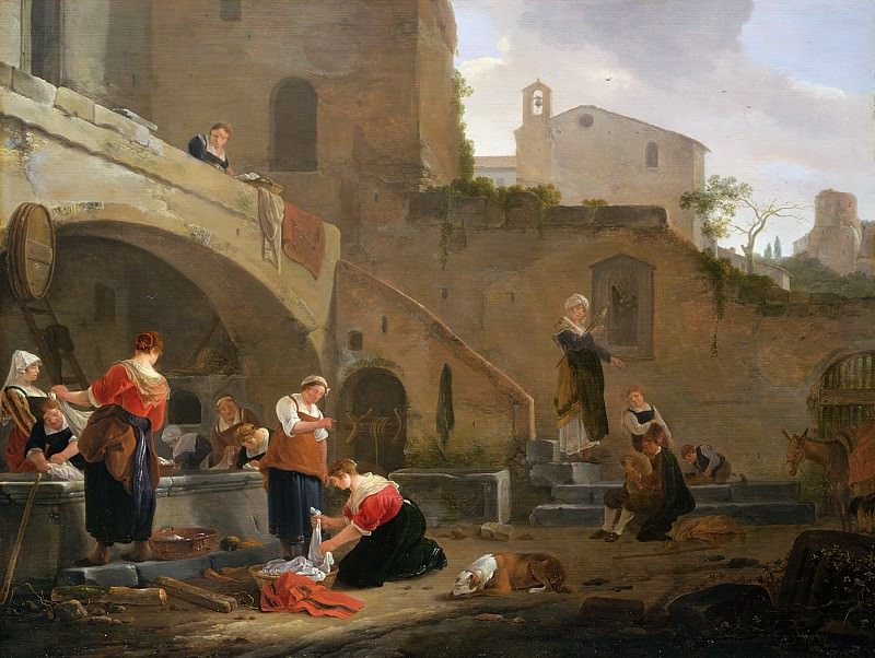 Washerwomen by a Roman Fountain. Thomas Wyck