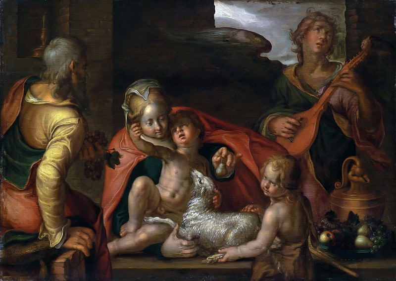 The Holy Family with the Infant Saint John the Baptist and an angel. Joachim Wtewael