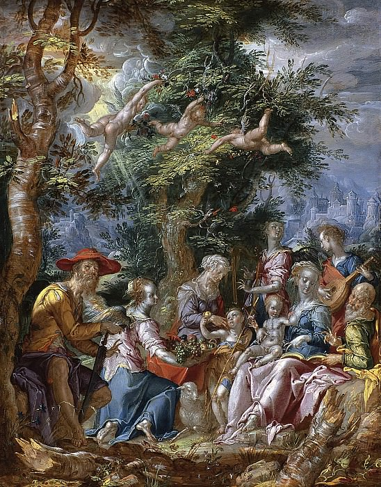 The Holy Family with Saints and Angels. Joachim Wtewael