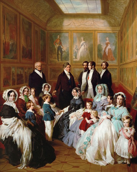 Queen Victoria and Prince Consort Albert as guests of King Louis Philippe of France, in Chateau d'Eu, 1845. Franz Xavier Winterhalter