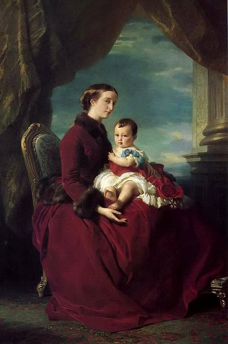 The Empress Eugenie Holding Louis Napoleon, the Prince Imperial, on her Knees. Franz Xavier Winterhalter