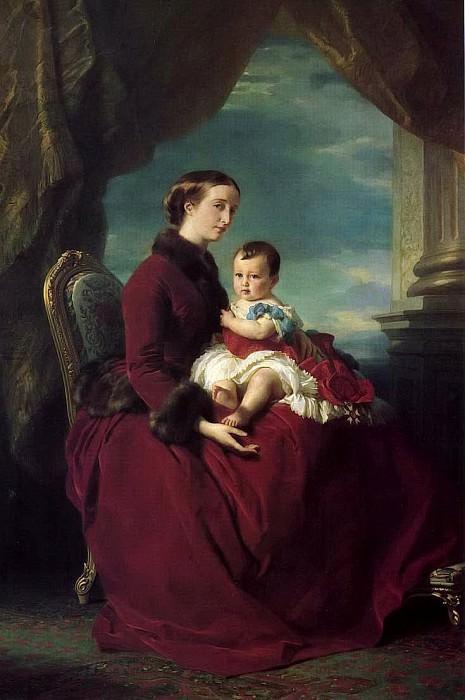 Императрица Евгения с принцем Луи Наполеоном на коленях. Франц Ксавьер Винтерхальтер