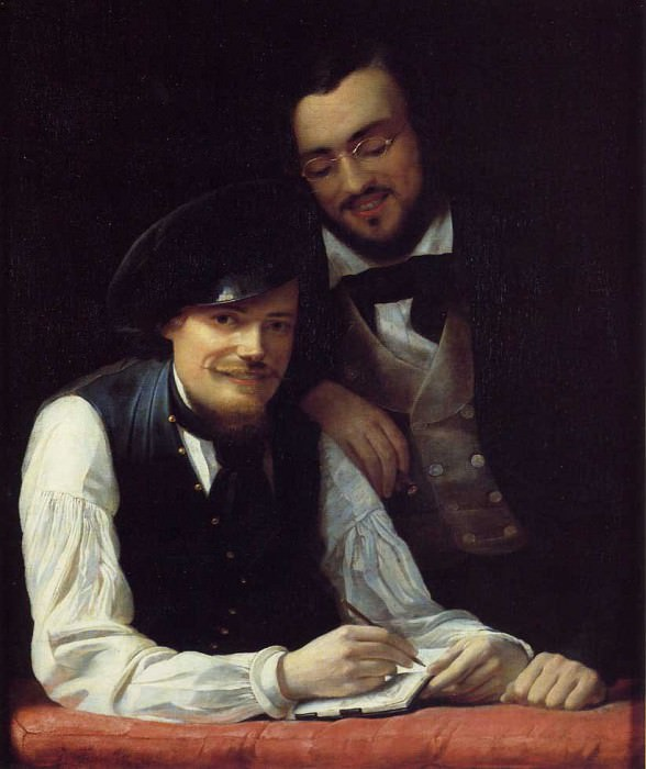 Self-Portrait of the Artist with his Brother, Hermann. Franz Xavier Winterhalter