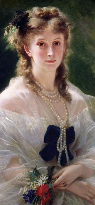 Portrait of Sophie Troubetskoy (1838-96) Countess of Morny (fragment). Franz Xavier Winterhalter