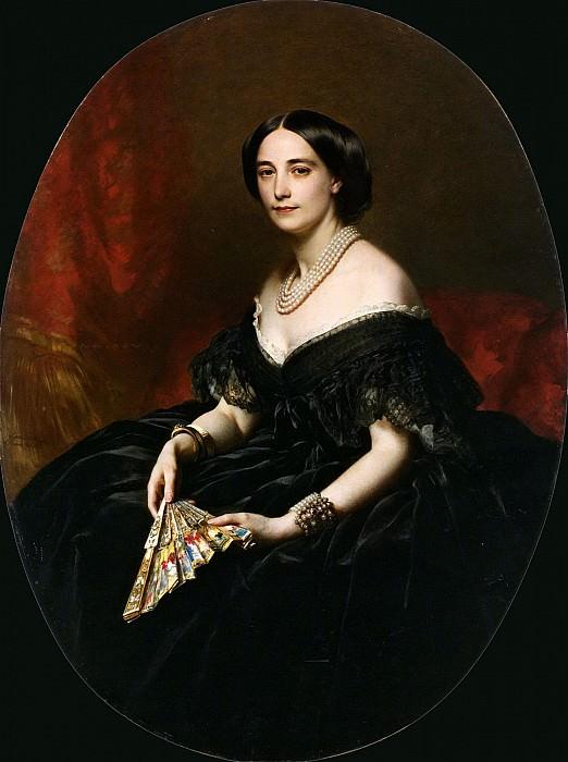 Portrait of A Lady with a fan. Franz Xavier Winterhalter