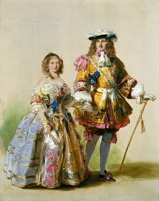 Study of Queen Victoria and Prince Albert in costumes of the time of Charles II. Franz Xavier Winterhalter