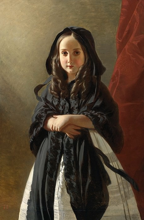 PORTRAIT OF CHARLOTTE OF BELGIUM, DAUGHTER OF KING LEOPOLD. Franz Xavier Winterhalter