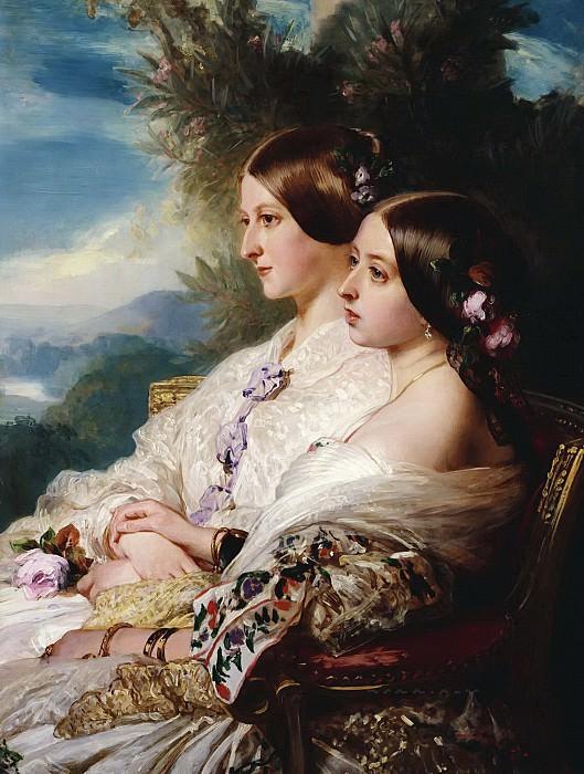 The cousins: Queen Victoria and Victoire, Duchesse de Nemours. Franz Xavier Winterhalter