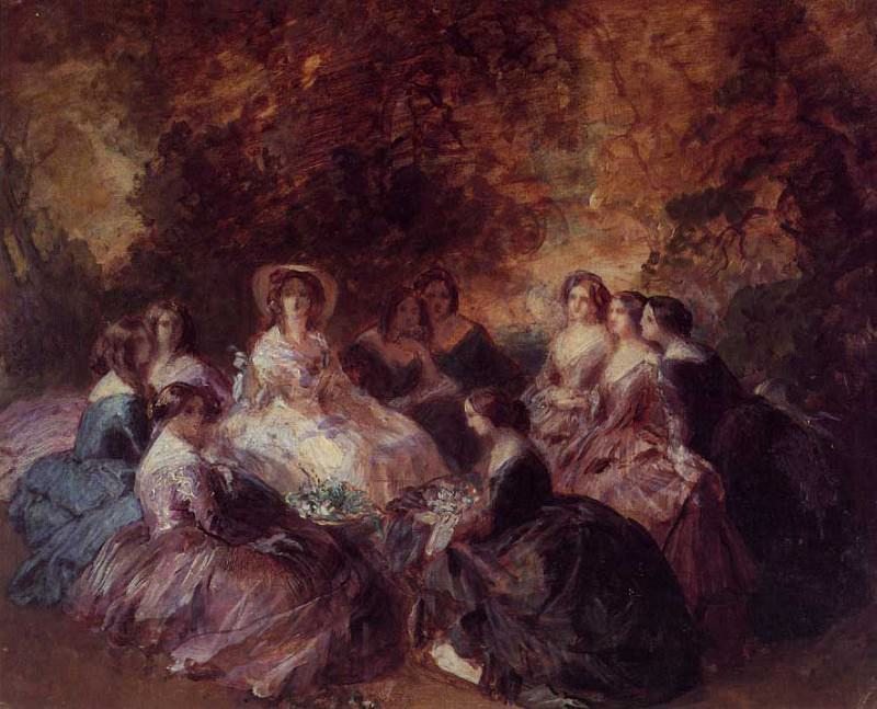The Empress Eugenie Surrounded by her Ladies in Waiting. Franz Xavier Winterhalter